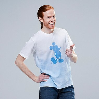 MEN MICKEY BLUE GRAPHIC PRINT T-SHIRT