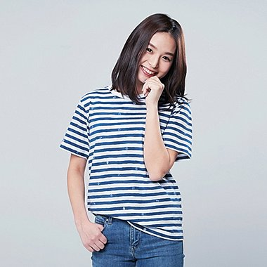 DAMEN BEDRUCKTES T-SHIRT MICKEY BLUE