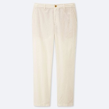 "WOMEN LINEN COTTON TAPERED PANTS (TALL 30"") (ONLINE EXCLUSIVE), WHITE, medium"