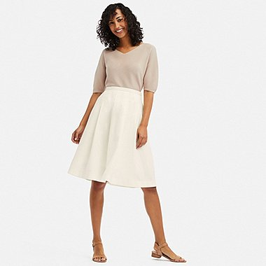 WOMEN LINEN COTTON TUCKED FLARE SKIRT, WHITE, medium