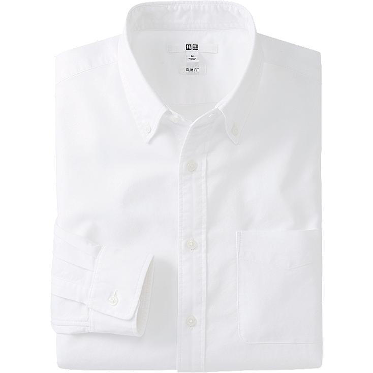 Oxford shirt, OFF WHITE, large