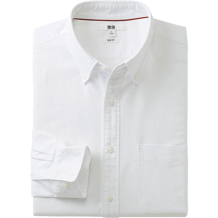 MEN OXFORD SLIM FIT LONG SLEEVE SHIRT, OFF WHITE, large
