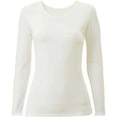 WOMEN HEATTECH EXTRA WARM CREW NECK T-SHIRT, OFF WHITE, medium