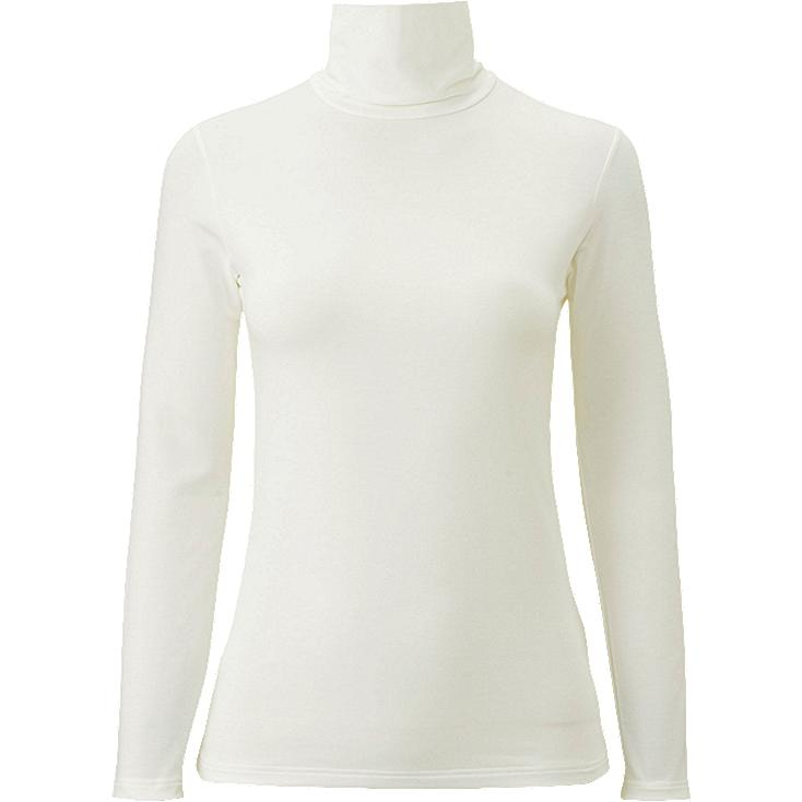 WOMEN HEATTECH EXTRA WARM TURTLENECK T-SHIRT, OFF WHITE, large