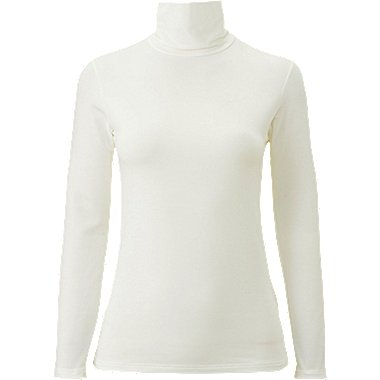 WOMEN HEATTECH EXTRA WARM TURTLENECK T-SHIRT, OFF WHITE, medium