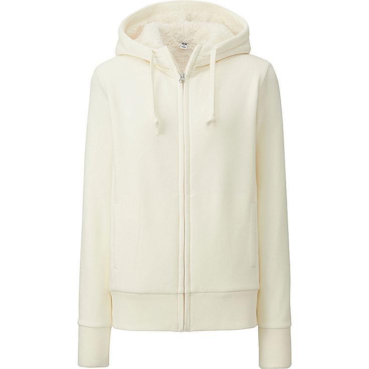 WOMEN Pile Lined Sweat Full-Zip Hooded Jacket