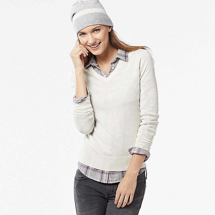 WOMEN EXTRA FINE MERINO V-NECK SWEATER, OFF WHITE, large
