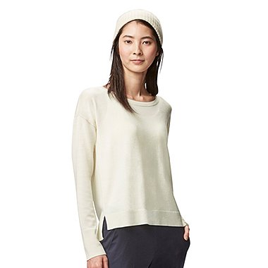 WOMEN EXTRA FINE MERINO CREW NECK SWEATER, OFF WHITE, medium