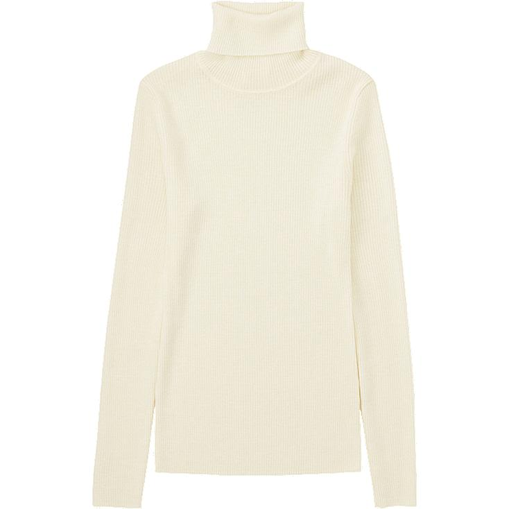 WOMEN Extra Fine Merino Rib Polo Neck Sweater