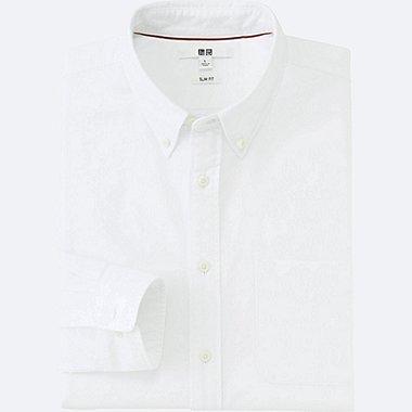 MEN OXFORD SLIM FIT LONG SLEEVE SHIRT, OFF WHITE, medium