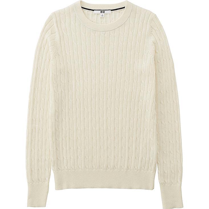 WOMEN Cotton Cashmere Cable Crew Neck Sweater