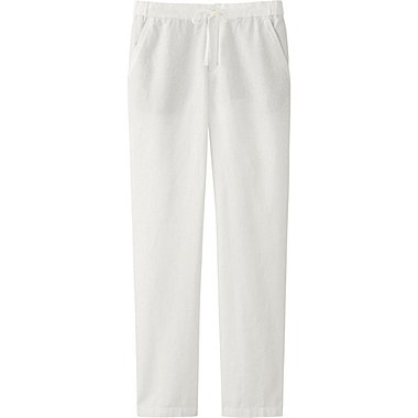 Womens Cotton Linen Relaxed Pants, OFF WHITE, medium