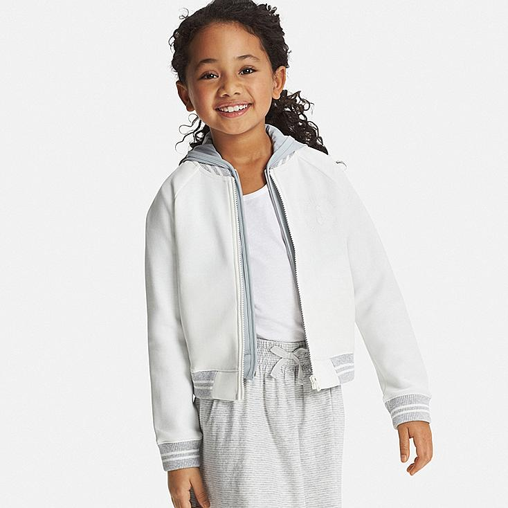 Girls Disney Project DRY Knit Zip-Up Letterman Jacket, OFF WHITE, large