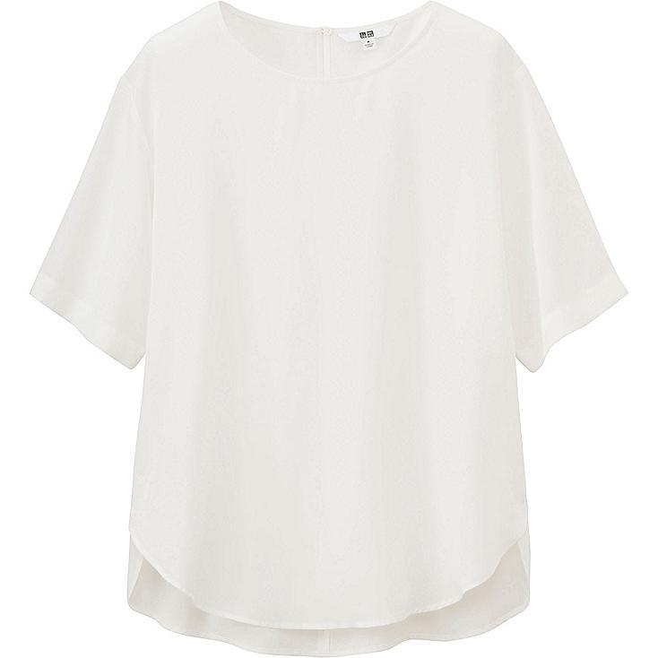 Women Short Sleeve Satin Blouse, OFF WHITE, large