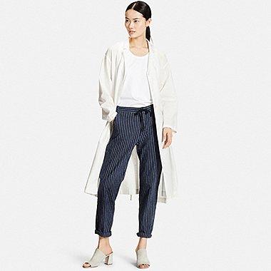 Womens Cotton Linen Long Sleeve Shirt Dress, OFF WHITE, medium