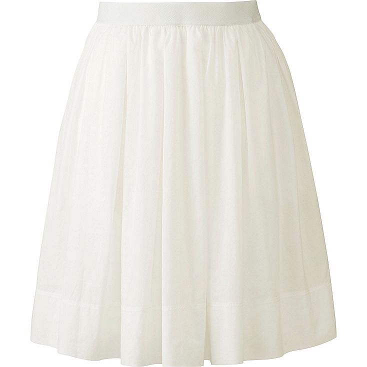 Women Cotton Skirt, OFF WHITE, large