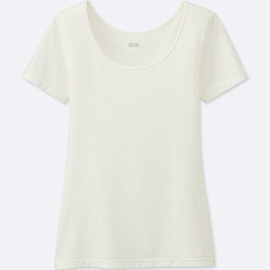WOMEN HEATTECH SCOOP NECK T-SHIRT, OFF WHITE, medium
