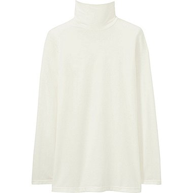 WOMEN HEATTECH TURTLENECK T-SHIRT, OFF WHITE, medium