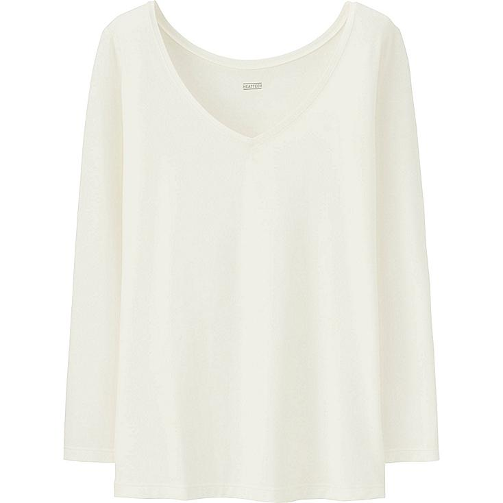 WOMEN HEATTECH TOP, OFF WHITE, large