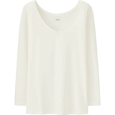 WOMEN HEATTECH TOP, OFF WHITE, medium