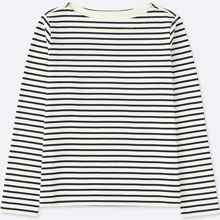 WOMEN Striped Boat Neck Long Sleeve T
