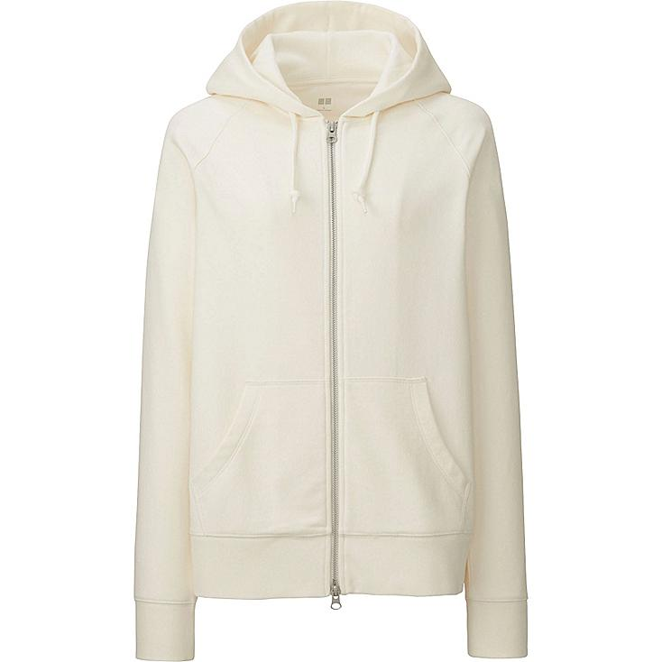 Women Zip-Up Hoodie, OFF WHITE, large
