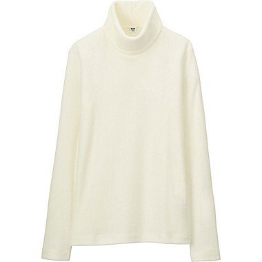 WOMEN HEATTECH FLEECE TURTLE NECK LONG SLEEVE T, OFF WHITE, medium