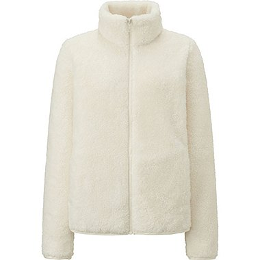 WOMEN FLUFFY YARN FLEECE FULL ZIP JACKET, OFF WHITE, medium