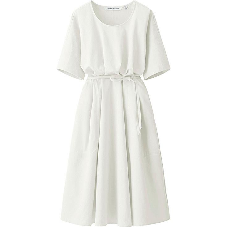 Women LEMAIRE Seeksucker Short Sleeve Dress, OFF WHITE, large