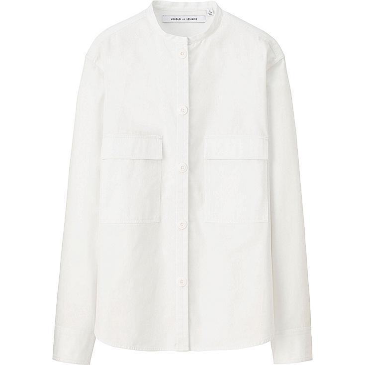 Women lemaire cotton stand collar long sleeve shirt for Stand collar shirt womens