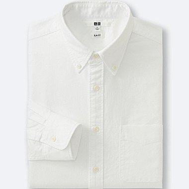 MEN OXFORD SLIM FIT LONG SLEEVE SHIRT, OFF WHITE, medium