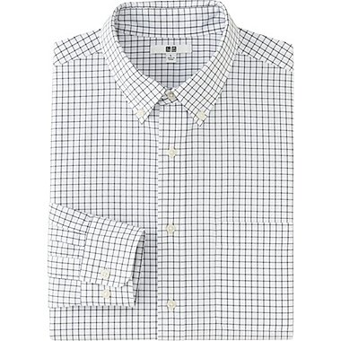 MEN EXTRA FINE COTTON BROADCLOTH CHECKED LONG SLEEVE SHIRT, OFF WHITE, medium