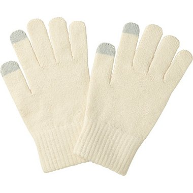 MEN HEATTECH KNIT GLOVES, OFF WHITE, medium