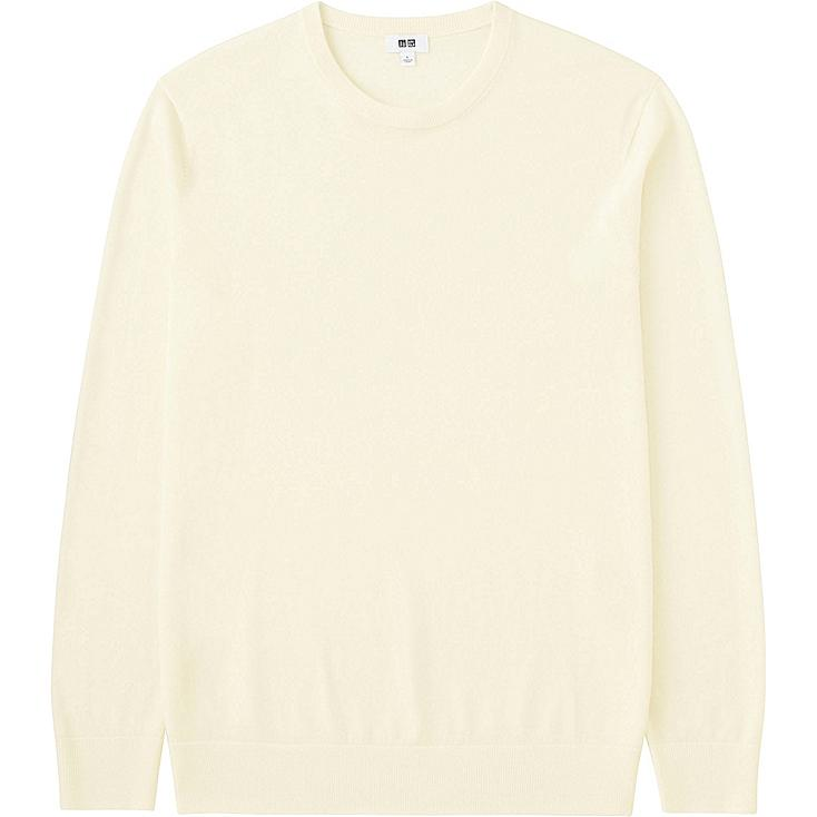 MEN EXTRA FINE MERINO CREWNECK SWEATER, OFF WHITE, large