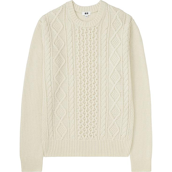 MEN MIDDLE GAUGE CABLE CREWNECK SWEATER, OFF WHITE, large