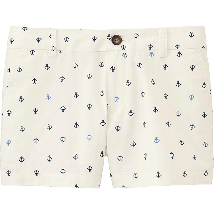 Women Chino Printed Micro Shorts, OFF WHITE, large