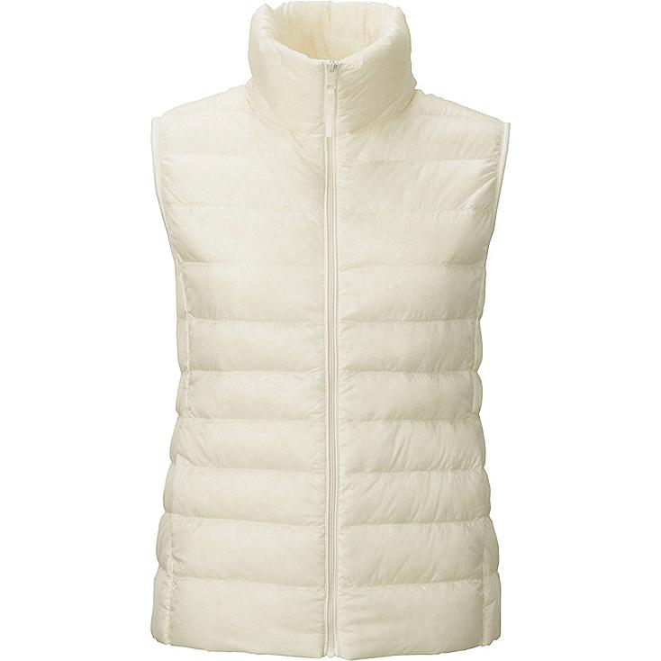 Women Ultra Light Down Vest, OFF WHITE, large