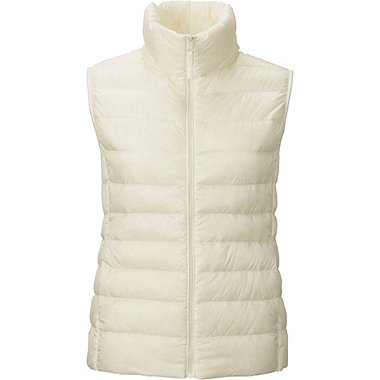Womens Ultra Light Down Vest, OFF WHITE, medium