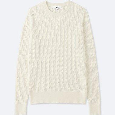 Women Cotton Cashmere Cable Knit Sweater Uniqlo Us
