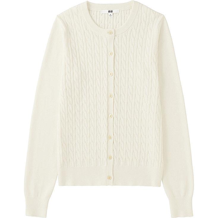 WOMEN Cotton Cashmere Cable Cardigan