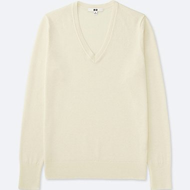 Women Extra Fine Merino Wool V-Neck Sweater, OFF WHITE, medium