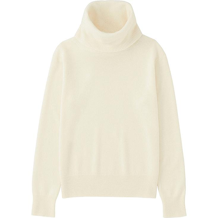 Women Cashmere Turtleneck Sweater, OFF WHITE, large