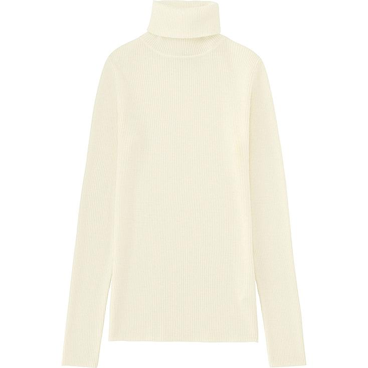 WOMEN EXTRA FINE MERINO RIBBED TURTLE NECK SWEATER, OFF WHITE, large