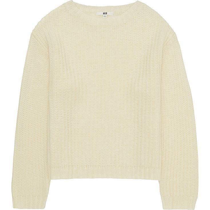 WOMEN MOHAIR BLEND OVERSIZED SWEATER, OFF WHITE, large