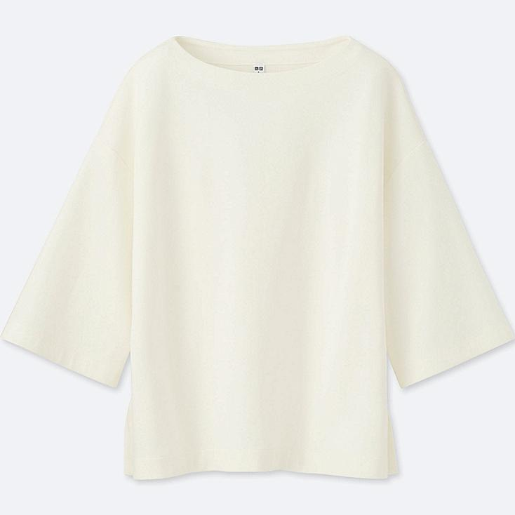 WOMEN DOUBLE FACE 3/4 SLEEVE PULLOVER, OFF WHITE, large