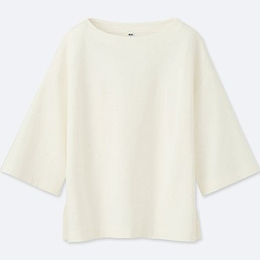 WOMEN DOUBLE FACE 3/4 SLEEVE PULLOVER, OFF WHITE, medium