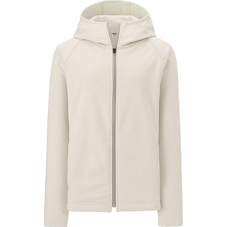 WOMEN BLOCKTECH FLEECE LONG SLEEVE FULL-ZIP HOODIE, OFF WHITE, large