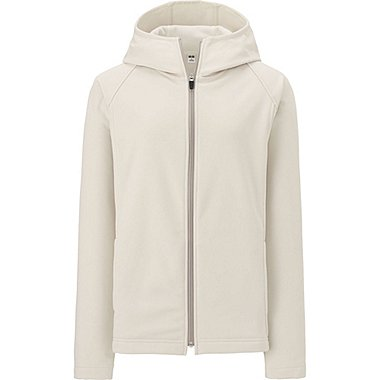 WOMEN BLOCKTECH FLEECE LONG SLEEVE FULL-ZIP HOODIE, OFF WHITE, medium