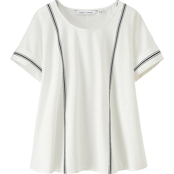 Women LEMAIRE Extra Fine Cotton Short Sleeve T-Blouse, OFF WHITE, large