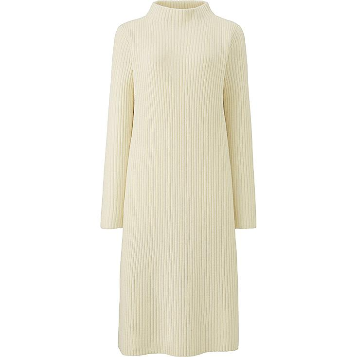 WOMEN MIDDLE GAUGE KNIT RIBBED DRESS, OFF WHITE, large